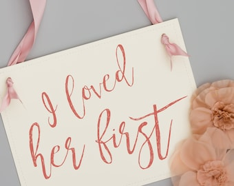 I Loved Her First Sign | Engagement Announcement for Dog or Child | Handcrafted Banner 1724 BW