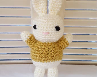Cream And Gold Bunny Rabbit Stuffed Animal Crochet Toy/ Amigurumi Plush Doll/ Handmade Toys/ Easter Bunny/ Gift For Kids
