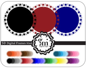 50 Digital Frames, Circle Frame Clipart, Circle Clipart, Black Circle, Round Frame, Digital Frames and Borders, Instant Download