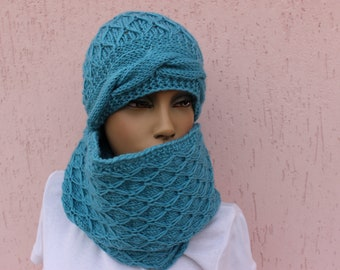 Hand Knit Scarf and Beanie Blue Infinity Scarf Knitted Cowl
