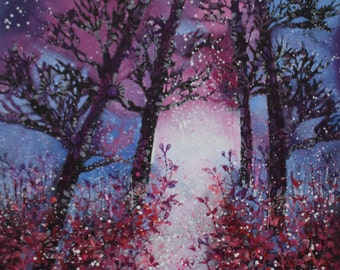 Flowers in the Forest/original painting/ forest painting/canvas/trees/wall art/spattered painting/vibrant/forest pathway/fairytale