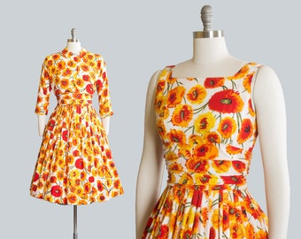 Vintage 1950s Dress Set   50s JONATHAN LOGAN Floral Print Cotton Sundress Orange Yellow Full Skirt Day Dress Matching Bolero Jacket (small)