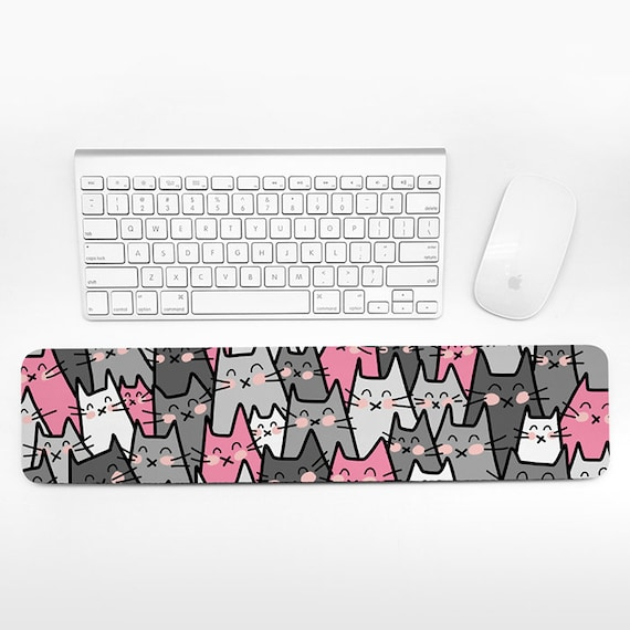 Cat Keyboard Wrist Rest Pad, Pink and Gray Wrist Keyboard Rest, Cats Wrist Pad for Keyboard Pad, Fun Cute Desk Cubicle Decor for Women