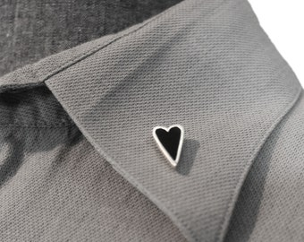 Heart Pin, Valentines Gift, Heart Brooch, Scarf Pin, Lapel Pin, Black Tourmaline Pin, Silver Pin, Silver Brooch, Valentines Pin, Vday Gift,