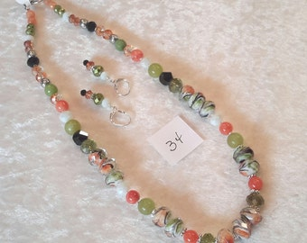 """19"""" Jade, Crystal, Glass and Metal Necklace with Earrings with Hues of Green, Orange and white"""