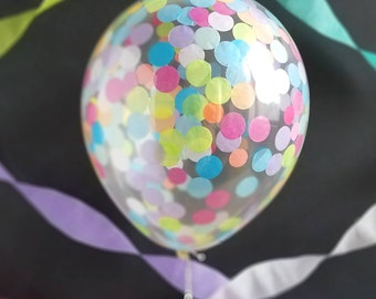 Confetti Balloons/ 3 Pack, 5 Pack or Singles/ Pre-filled/ Multi Rainbow Confetti/ Baby Shower, Birthday, Wedding, Graduation, Photoshoots
