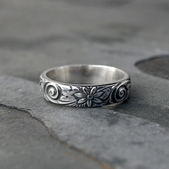 flower wedding ring 2 flower spiral sterling silver ring band etched patterned 4240