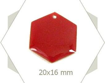 6 sequins hexagons red brick SEH06 pendants