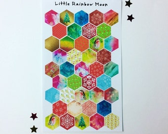 Christmas hexagon stickers