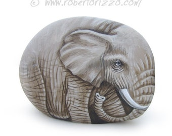 Sweet Elephant Painted on A Sea Rock | Rock Painting Art by Roberto Rizzo