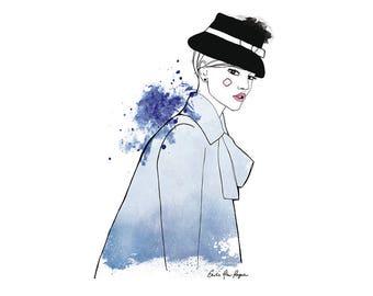 Girl with her blue hat illustration / print 21 X 29, 7 / Emilie Raguin