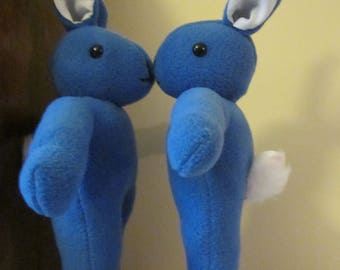 Blue Fleece Rabbits Two-Colour Blue Bunnies Ornamental Fleece Toy Blue Fleece Ornament Bedroom Decorations Nursery Ornament Unbreakable Toy