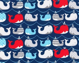 1 Yard WHALE Baby Kids Nautical Ocean Blue Fabric