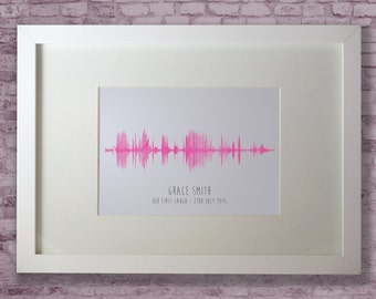 It's our baby's laugh - personalised sound wave in a quality wooden frame using your baby's laugh