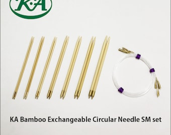 KA, Seeknit, Bamboo Interchangeable Circular Needles SM Set. 7 pair of needles in US sizes 1.5, 2, 2.5, 4, 6, 7 and 8. Made In Japan