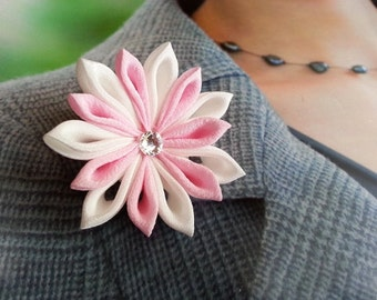 Pastel Pink Star -- Crepe Silk Flower Lapel Pin Brooch