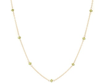 Delicate Gold and Peridot Chain Necklace - 24in. Necklace - 14k Gold Filled - Small Faceted Green Peridot Gemstones - Gold Chain