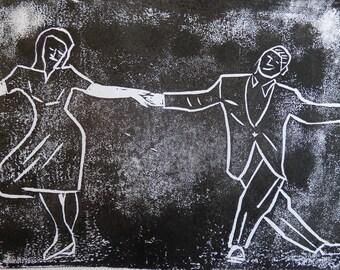 Charleston Dance lino print