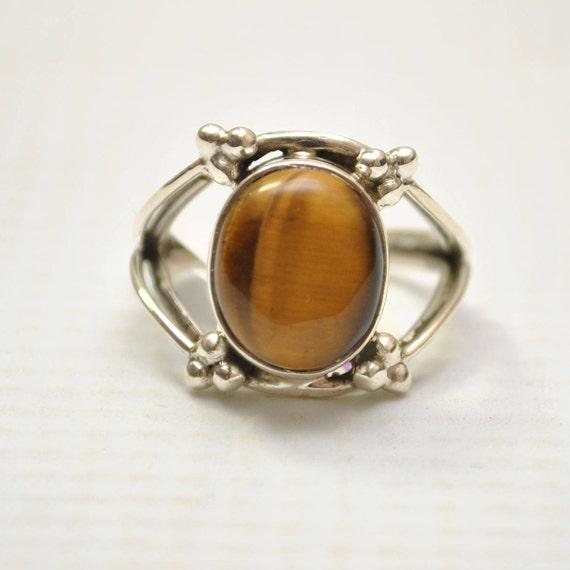 Sterling Silver Tiger Eye Sz 7 #9243