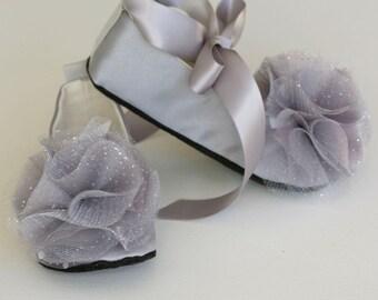 Grey Satin Toddler Shoe - Silver Flower Girl Baby Ballet Slipper - 23 colors Wedding Shoe - Toddler Ballet Slipper - Baby Souls Baby Shoe