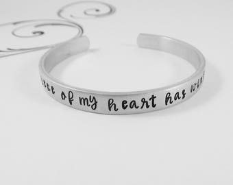"Miscarriage Bracelet - ""A piece of my heart has wings"" - Hand Stamped Memorial Jewelry - Remembrance - Bereavement Gift"