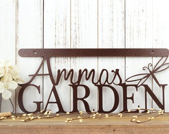 Custom Garden Sign   Garden Sign   Wall Art   Wall Decor   Metal Wall Art   Personalized Gift   Wall Hanging   Dragonfly