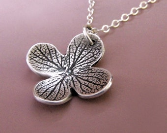Sterling Silver Flower Necklace, Dark Hydrangea Blossom, Free Shipping, Last Minute Gift, Gardening Gift