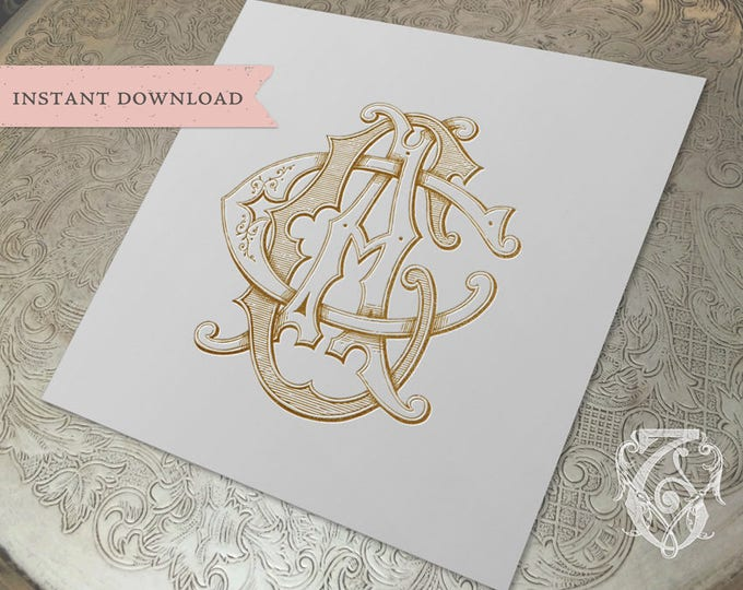 3 Initial Vintage Monogram ACC  Three Letter Wedding Monogram Digital Download CCA  CAC