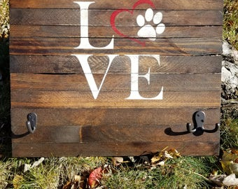 "Dog Leash Holder-LOVE-16"" x 18""-Reclaimed Rustic Pet Leash Holder"