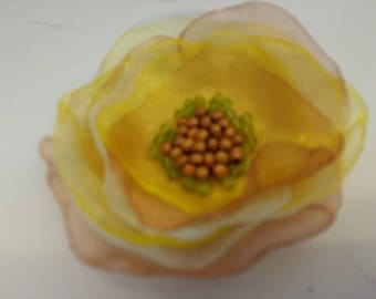Fabulous Fabric Flower Pin Handmade One of a Kind by Sujati