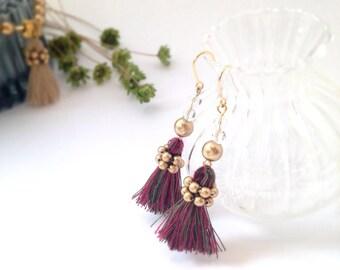 christmas earrings, tassel earrings, gift idea for her, red earrings, pearl earrings, christmas gift jewelry,