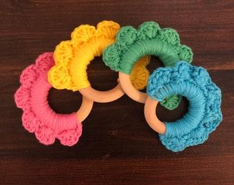 Organic Cotton Crochet Wooden Teether