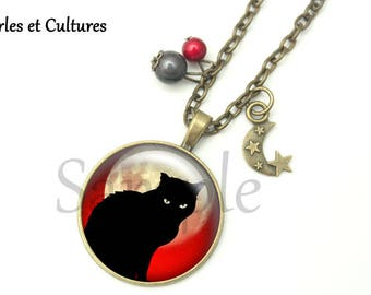 Moon Black Cat Halloween vintage gift idea black white red cabochon necklace