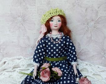Miniature doll, tiny  doll, dollhouse dolls, clay doll, handpainted doll, interior decor, special gift, lovely doll - 6 inch