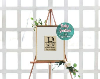 Wedding Guestbook Alternative Monogrammed Guest Book Rustic Guest Book Burlap Guestbook Framed Guest Book Alternatives Sign in Frame
