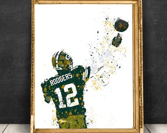 Aaron Rodgers Green Bay Packers NFL Quarterback Print Poster, sports art print, Football drawing illustration, NFL painting