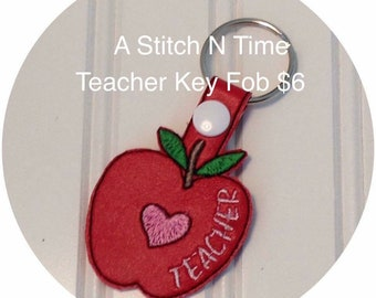 Teacher key fob, Apple key chain, Teacher gift