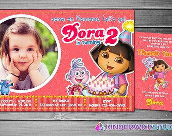 Dora the Explorer Invitation, Dora the Explorer Birthday, Dora the Explorer Party, Dora the Explorer Invites, Dora the Explorer Printables