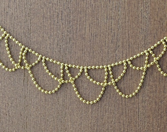 14k Yellow Gold Beaded Chain Necklace 16''