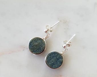 Turning Tides Muted Blue Druzy Agate Earrings