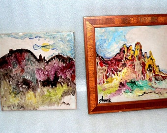 2 Franciscan Interpace Signed Hand Painted Tile Wall Hang Western Scenes Stoyer