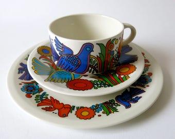 3 piece breakfast set - Villeroy and Boch - Acapulco - vitro porcelain - Milano series - mid century modern - blue backstamp - R0132