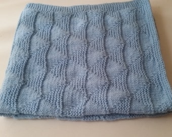 Blue Hand Knitted Baby Blanket, Knit Baby Blanket, Handmade Crib Stroller Knit  Baby Blanket, Baby Shower Gift Idea