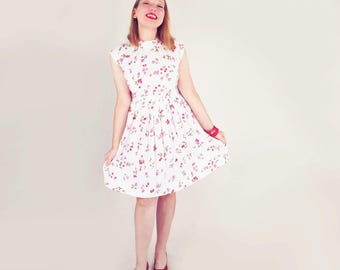 60s Roses & Raspberries Print Nylon Dress with Pleated Skirt by Puritan Forever Young S