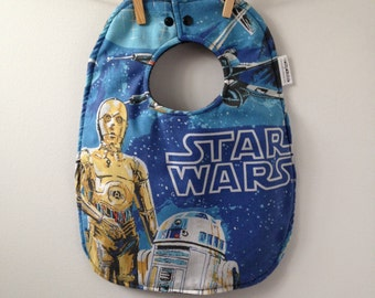 Star Wars Baby Shower Gift - Toddler Sized Bib with Snaps from Vintage Bed Sheets - 80s Baby Shower Gift - C3P0 and R2-D2 Upcycled Baby Gift