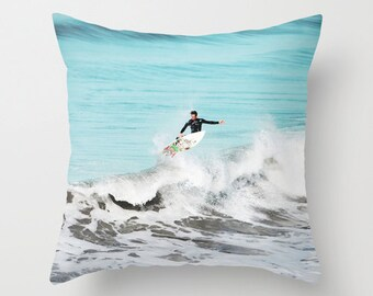 Surf Pillow - Surfer Pillow Case - Ocean Beach Pillow - Surfer Throw Pillow - Blue Pillow - Beach Pillow Cover - Beach decor - Beachy Decor