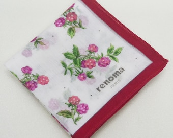 FREE SHIPPING!!! Renoma Paris Floral Hanky Handkerchief