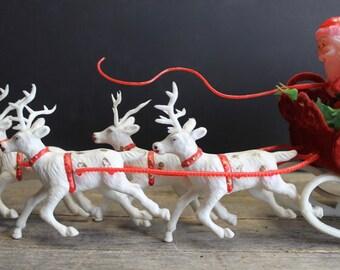 Vintage Santa and Reindeer // Flocked Sleigh and Plastic Santa and Reindeer