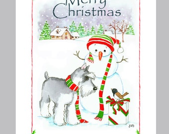 Schnauzer Christmas Cards Box of 16 Cards and Envelopes