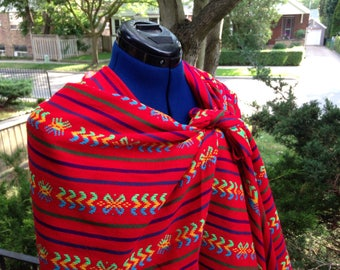 3 Yard Fabric Rebozo - Red Stripes Mexican Cambaya Shawl Long Scarf - Tribal Wrap - Doula and Midwife Labour Tools Baby Shower Gift
